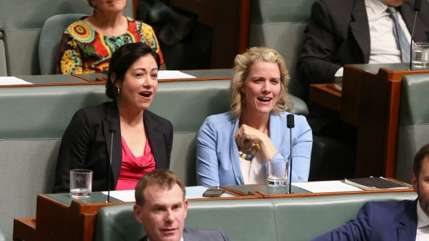 Labor MPs Terri Butler and Clare O'Neil in question time on Monday.