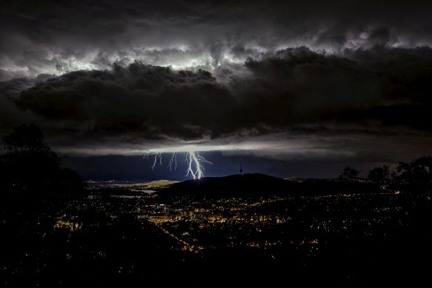 Ian Houghton - Summer Storm. An electric storm putting on a display over Canberra.