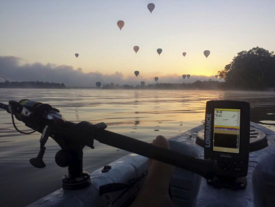 Robert Holt - Fresh start. Morning on Lake Burley Griffin, fishing and watching hot air balloons.