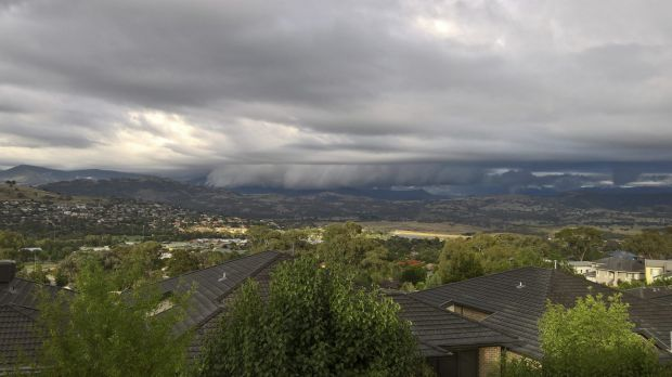 Peter Petrass - Looking out to the Brindabellas and is a shelf cloud heading south towards Tharwa.