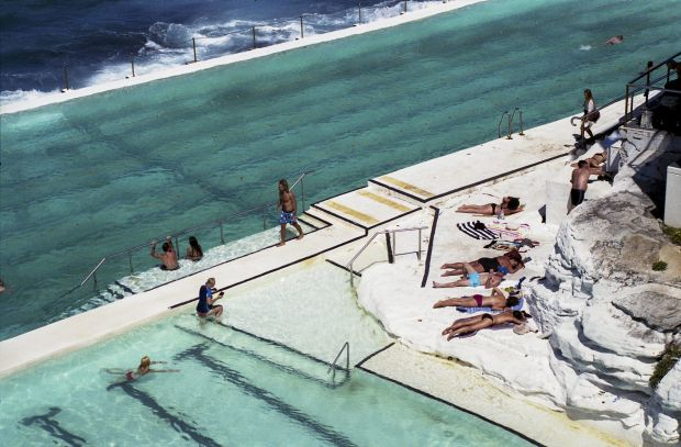 Maddie Hepner - 'Icebergs'. This photo shows a typical day at the Bondi Icebergs, with the topless sun tanners and ...