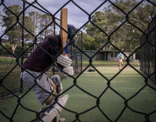 Belinda Collins - Practice in in the nets. I noticed the young men practicing cricket in the nets and they agreed I ...