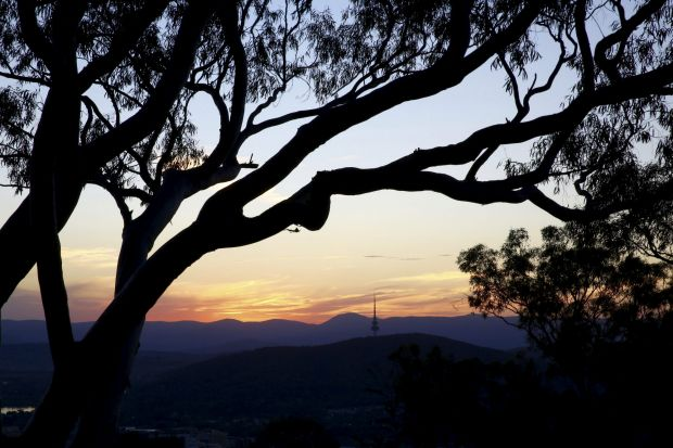 Josh O'Connor - Silhouette sunset . Canberra's horizon from Mt Ainslie.