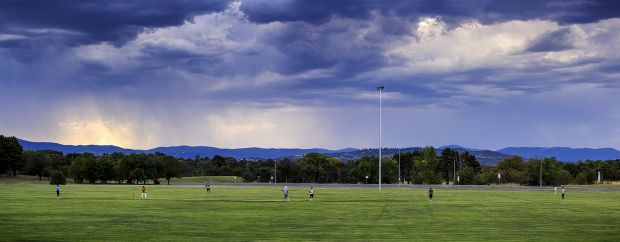 Chad Clark - Last ball before the storm. Cricket before the rain comes at Deakin on one of the hottest days of the year.