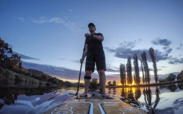 Simon Hill - Reflected Light - Molonglo Reach. Stand Up Paddleboard ?at dawn is great way to see the Nation's Capital.