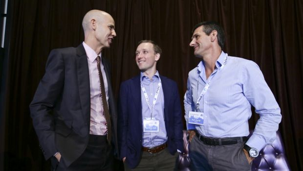 (left to right) Ben Perham from Macquarie Bank, Toby Norton-Smith from CBA and Martin Barrett from AusWide Bank at the  ...