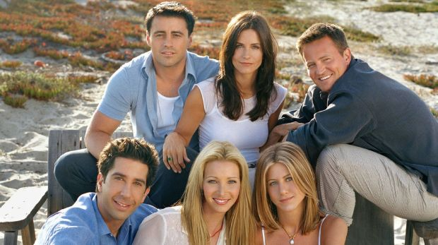 David Schwimmer (bottom left) with his <i>Friends</i> co-stars.