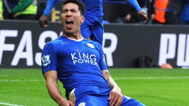 Leicester's Leonardo Ulloa celebrates after scoring against Norwich.