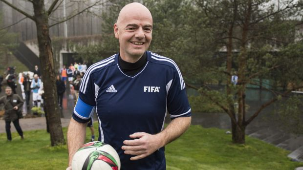 Match ready: New FIFA president Gianni Infantino arrives with a ball for a friendly in Zurich.