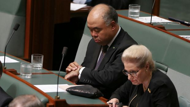 Liberal MPs Ian Goodenough and Bronwyn Bishop during question time on Tuesday.
