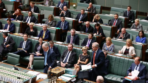 Prime Minister Malcolm Turnbull leaves the dispatch box for Treasurer Scott Morrison during question time  on Tuesday.