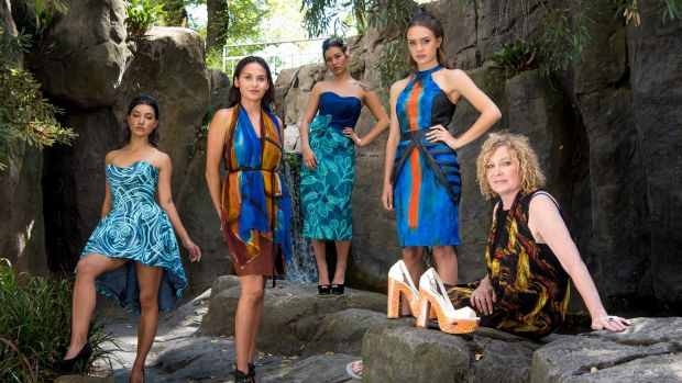 Indigenous Runway Project model Toby Sam-Morris, designer Lyn-Al Young, models Maxi Sam-Morris and Rhys Carter-Coleman ...