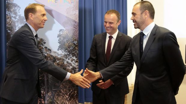 From left, ACT Deputy Chief Minister Simon Corbell, Chief Minister Andrew Barr and Canberra Metro Consortium chairman ...