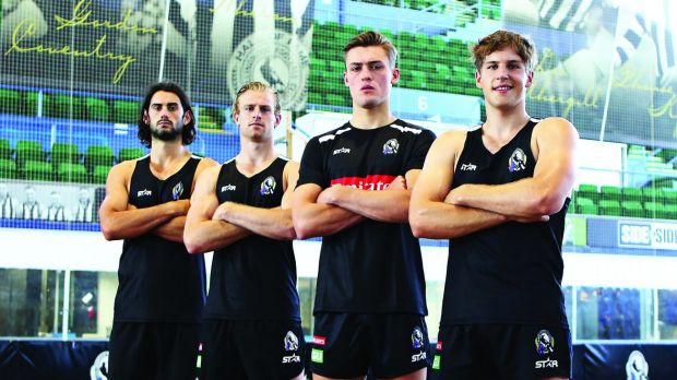 Magpie evolution: (right to left) Brayden Sier, Darcy Moore, Jonathan Marsh and Brodie Grundy.