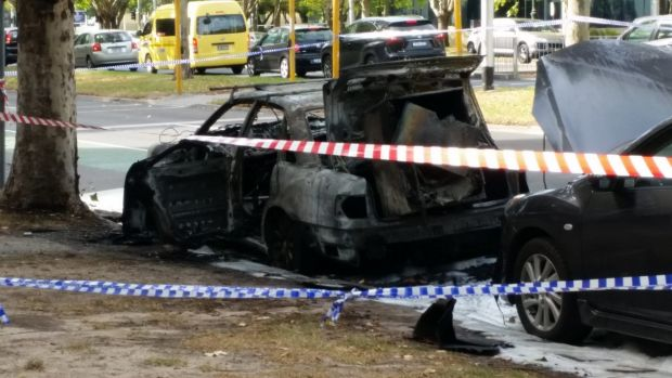 Police are investigating after a car exploded on St Kilda Road.