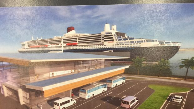 An artist impression of Brisbane's proposed cruise ship terminal at Luggage Point.