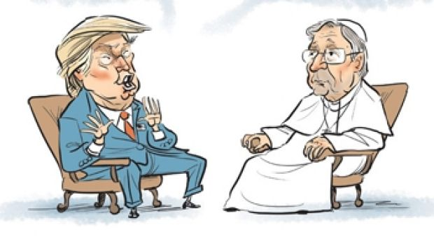"""In a March 2016 cartoon, David Pope depicted """"President Trump"""" meeting """"Pope George [Pell]"""" under the headline """"Men of ..."""