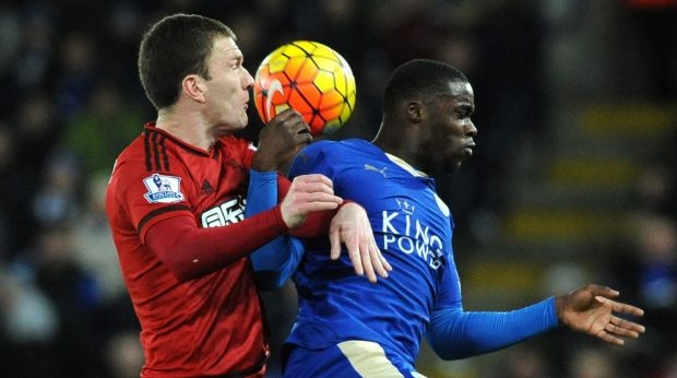 Foxes blow: Leicester's Jeffrey Schlupp, right, and West Bromwich Albion's Craig Gardner battle for the ball.
