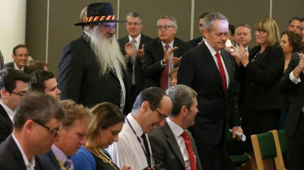 Opposition Leader Bill Shorten and Pat Dodson enter a joint press conference at Parliament House on Wednesday.