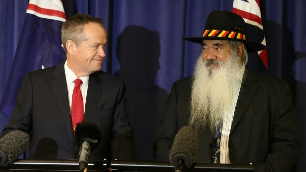 Opposition Leader Bill Shorten and Pat Dodson during a joint press conference at Parliament House in Canberra on ...