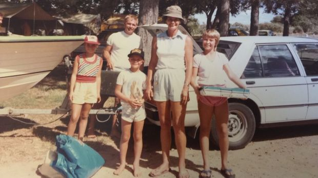 Ruth, Doug, David, Barbara and Kerstin Callum set up camp at Emu Park in 1985.
