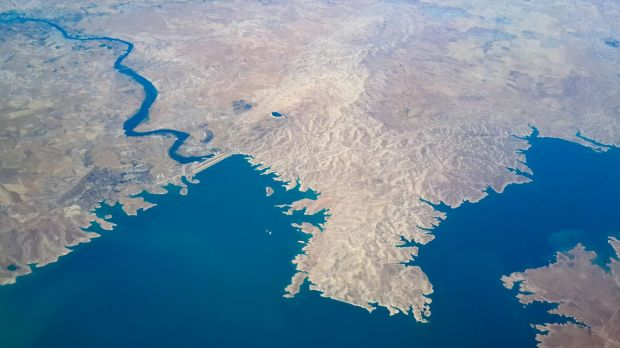 An aerial view of the Mosul dam, the biggest in Iraq. Mosul is out of shot on the top left.