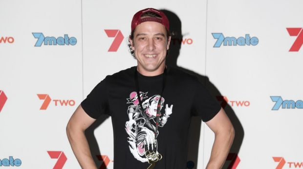 Samuel Johnson is all smiles at the MKR launch party in Brisbane in January.