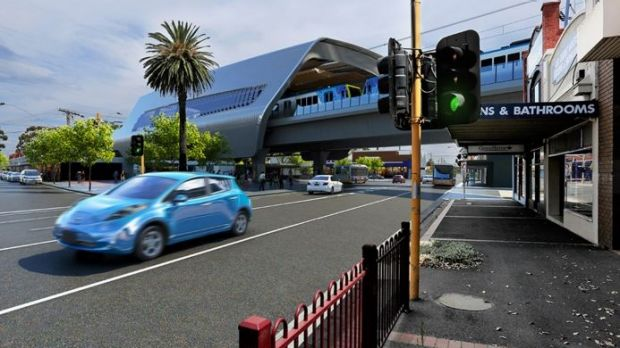 An artist's impression of Murrumbeena station once the sky rail is built.
