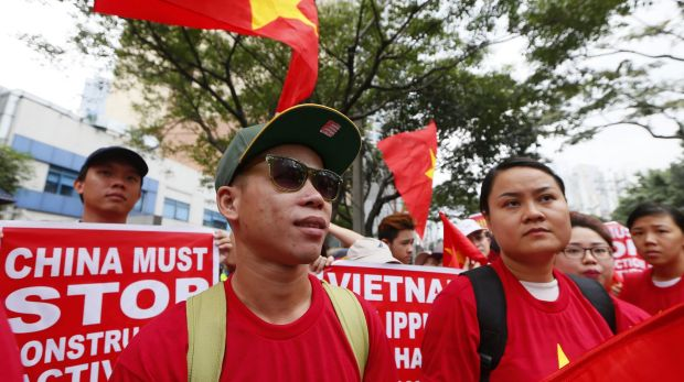 Vietnamese expatriates at a rally held last Thursday at the Chinese consulate in Manila to protest China's ...