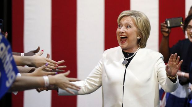 Democratic presidential candidate Hillary Clinton reacts to supporters as she arrives at her Super Tuesday election ...