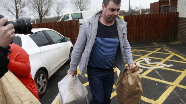 Seamus Daly leaves Maghaberry prison, in Ballinderry, Northern Ireland, on Tuesday, March, 1, 2016.  The Real IRA ...