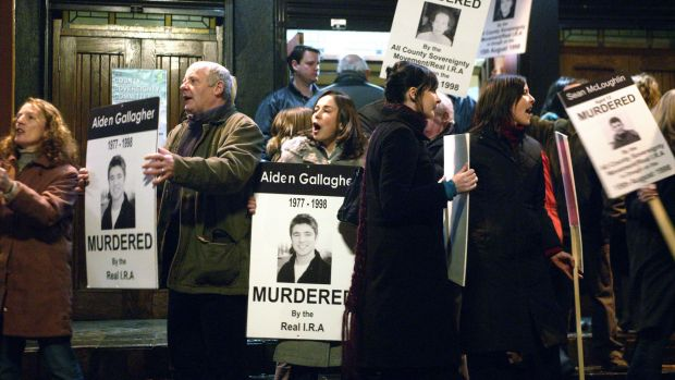 A scene from the 2005 film Omagh, directed by Pete Travis. The film traces the plight of the Gallagher family in the ...