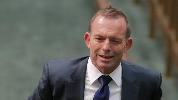 Former prime minister Tony Abbott departs at the end of question time on Wednesday.