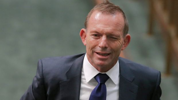 Former prime minister Tony Abbott winks as he departs Question Time.