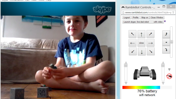 Matt Walker Skyping his son Jarvis as the RambleBot.