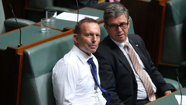 Tony Abbott during a division on marriage equality on Wednesday.
