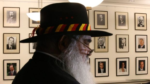 Professor Pat Dodson inside Labor's party room at Parliament House on Wednesday.