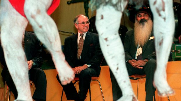 Professor Patrick Dodson and John Howard at the 1997 Australian Reconciliation Convention in Melbourne.