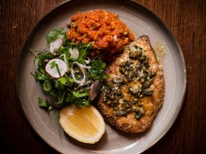 Chicken Milanese with spiced ratatouille