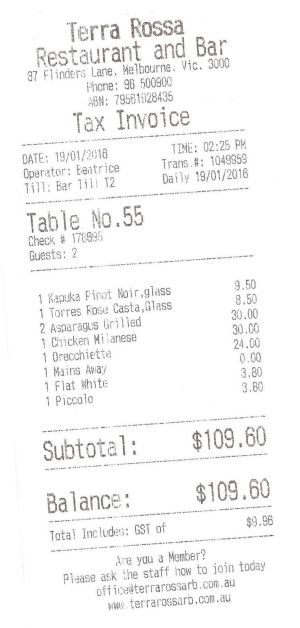 Receipt for lunch with Lindsay Tanner
