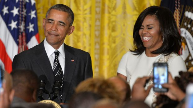 President Barack Obama and First Lady Michelle Obama at a reception for Black History Month