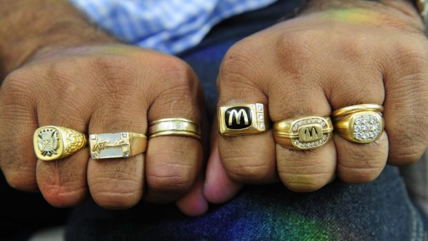 Hani Sidaros' rings are his trademark. He bought three of them himself to mark his achievements with McDonald's.