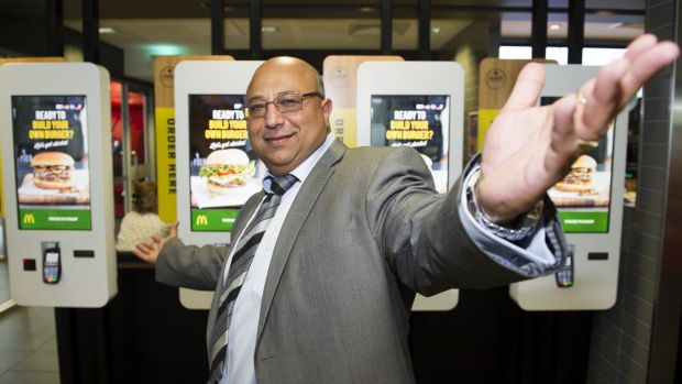 Hani Sidaros at McDonald's Gold Creek, one of 12 McDonald's restaurants he owns in Canberra.