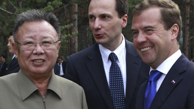 North Korean leader Kim Jong-il with Russian President Dmitry Medvedev, right, meet in the Russian Far East, outside ...