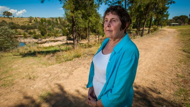 President of the Tuggeranong Community Council Glenys Patulny, at Pine Island where the Murrumbidgee River may be ...