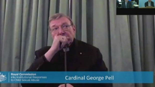 Cardinal Pell gives evidence to the royal commission via video link from Rome in February.
