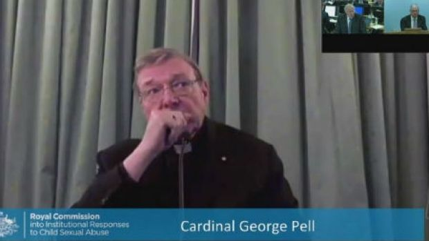 Cardinal Pell gave evidence to the royal commission via video link from Rome in February last year.