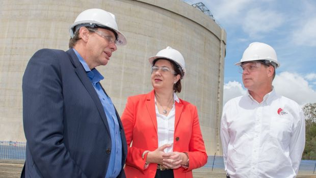 Origin managing director Grant King, Queensland Premier Annastacia Palaszczuk and Australia Pacific LNG CEO Page Maxson.