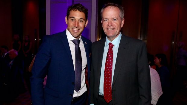 Two bills: Storm's Billy Slater with Bill Shorten.