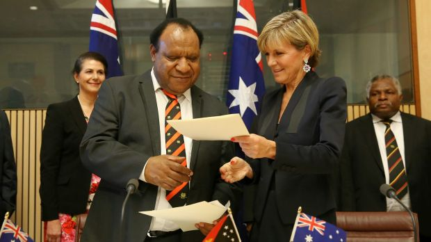 Foreign Affairs Minister Julie Bishop and her PNG counterpart Rimbink Pato in Canberra on Thursday.